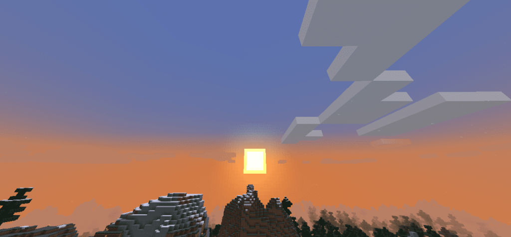 Закат в игре Майнкрафт